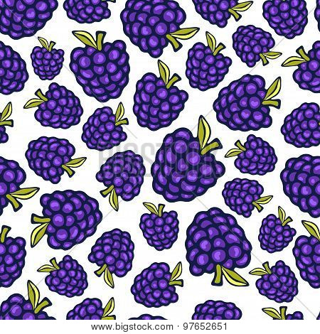 Blackberry Seamless Pattern. Vector Doodle Berry Design For Wallpaper, Web Page Background, Wrapping
