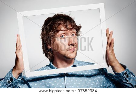 Closeup Portrait Businessman Executive Looking At Camera, Curious Surprised Confused Through White P