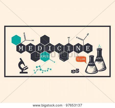 Medicine Background, Medicine Inscription. Vector Illustration