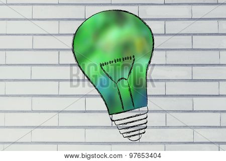 Lightbulb With Blurred Green Fill, Concept Of Green Economy