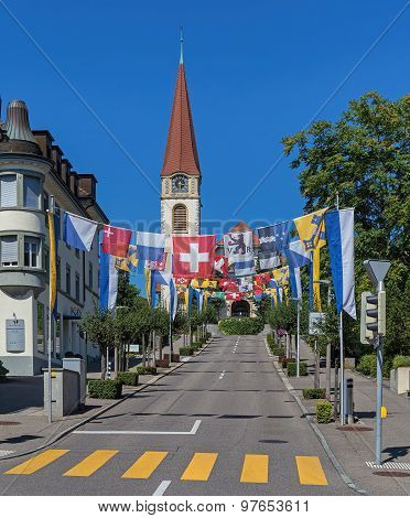 Street Decorated With Flags