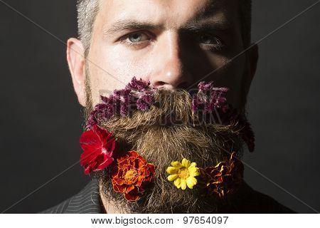 Man With Flowers On Face