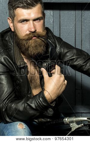 Handsome Male Biker