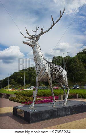 Metalic Sculpture Of A Deer In Nizhny Novgorod