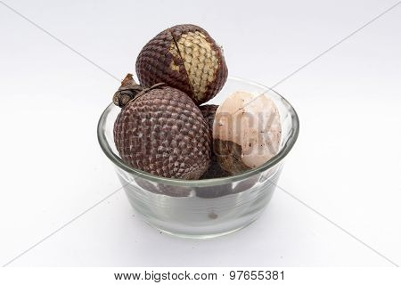 Exotic fruit of America: Aguaje or Moriche palm fruit mauritia flexuosa.