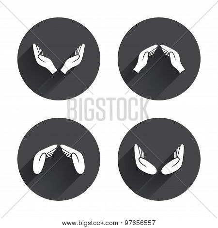 Hands icons. Insurance and meditation symbols.