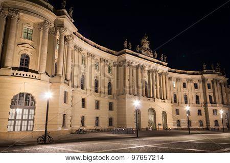 humboldt university building facade at night, berlin