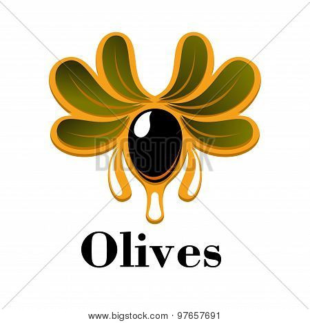 Black olive fruit with oil drops and leaves
