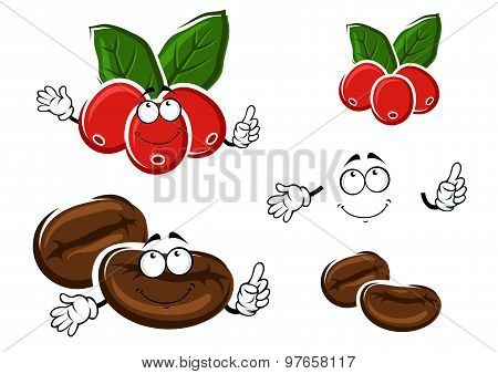 Coffee berries and beans cartoon characters