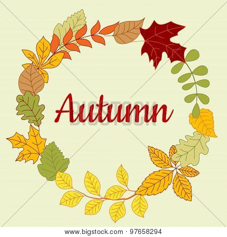 Autumn fallen colorful leaves frame