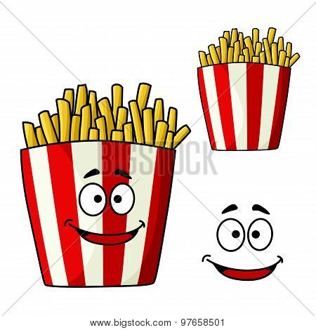 French fries snack box cartoon character