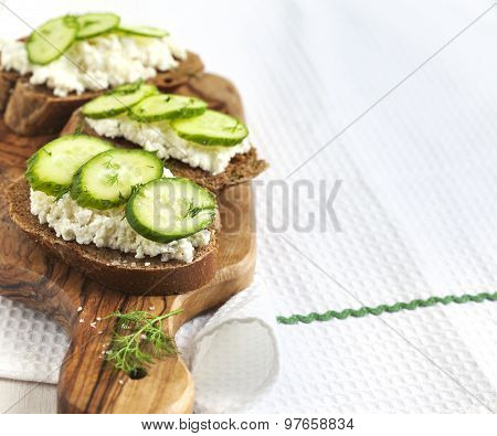 Sandwich With Fresh Cream Cheese And Cucumber