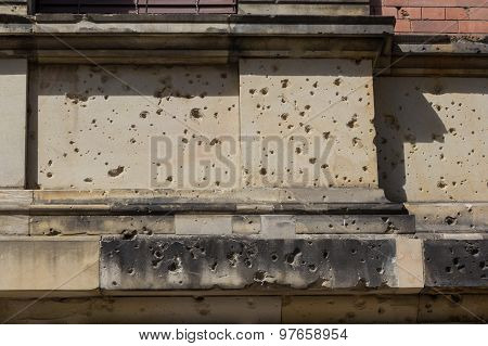 bullet holes from second world war, building facade berlin