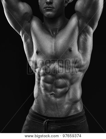 Muscular And Fit Young Bodybuilder Fitness Male Model