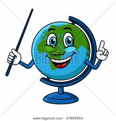 Cartoon globe character with pointer