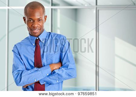 Portrait of a young smiling african businessman