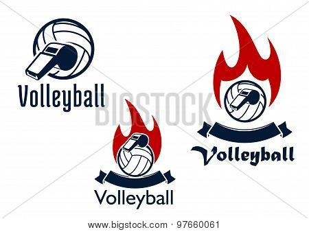 Volleyball balls, whistles and flames