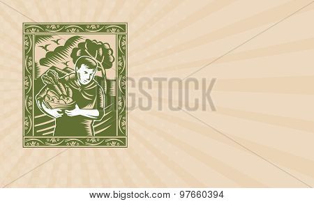 Business Card Organic Farmer With Basket Harvest Crops Retro