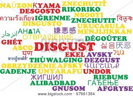Background concept wordcloud multilanguage international many language illustration of disgust