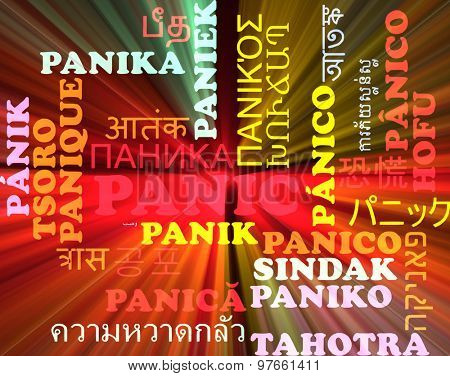 Background concept wordcloud multilanguage international many language illustration of panic glowing light