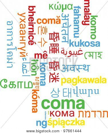 Background concept wordcloud multilanguage international many language illustration of coma