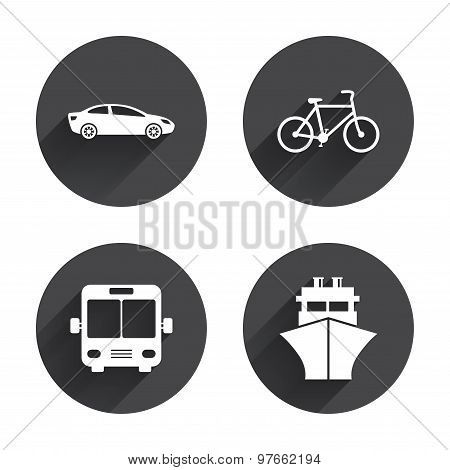 Transport icons. Car, Bicycle, Bus and Ship.