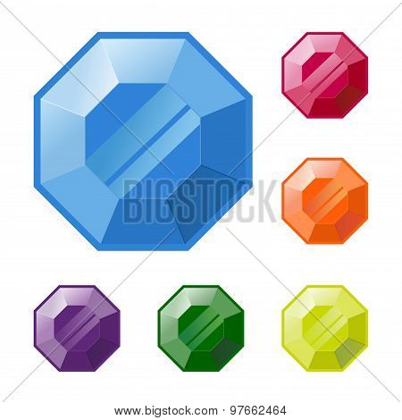 Group Of Colorful Gemstones Vector Icon