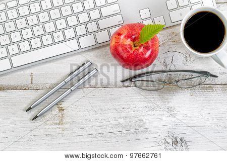 Computer Keyboard With Snack Foods On Top Of Old Desktop