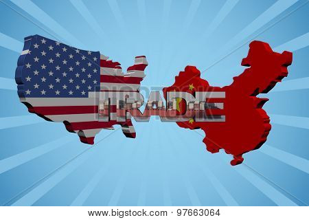 American and Chinese map flags with trade text illustration