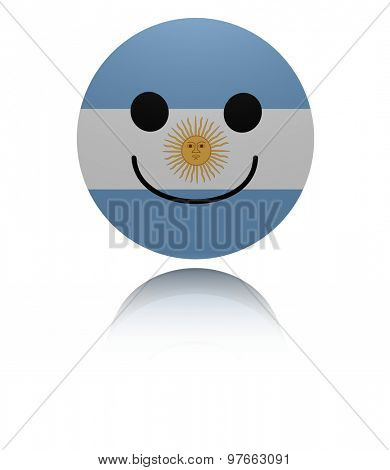Argentina happy icon with reflection illustration
