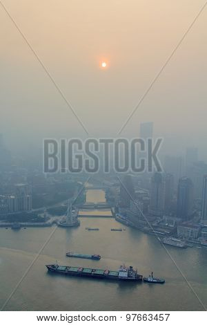 Smog Huangpu River In Shanghai