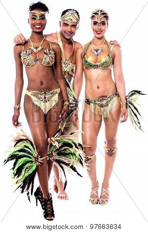 Samba Dancers Posing Together.
