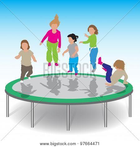 Kids Playing Trampoline