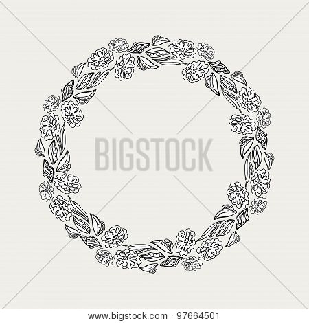 Hand-drawn Floral Frame. Vector Hand Paint Wreath For Invitations, Cards