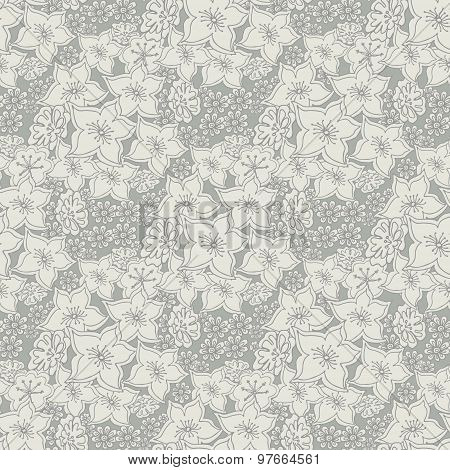 Seamless Pattern With Abstract Flowers .