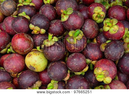 Fresh Organic Mangosteen Fruits At The Market