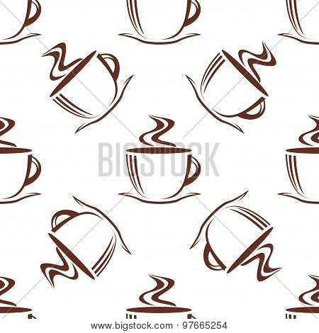 Brown steaming cups seamless pattern