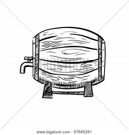 Old wooden wine or beer barrel sketch