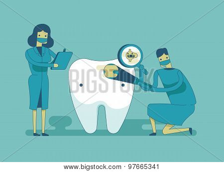 Dentist check up the tooth ,dental concept