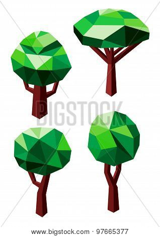 Green trees icons in 3D low poly style
