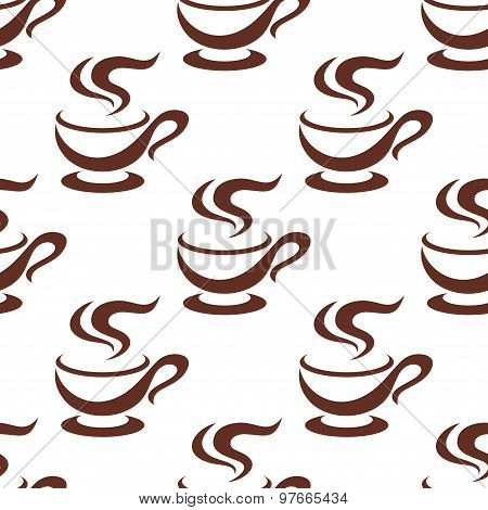 Seamless steaming cappuccino cups pattern