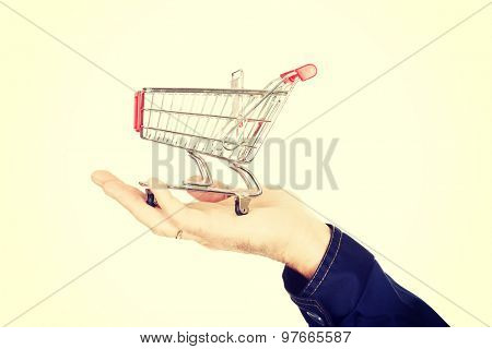 Male hand with small shopping basket.
