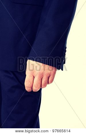 Close up on businessman hand.