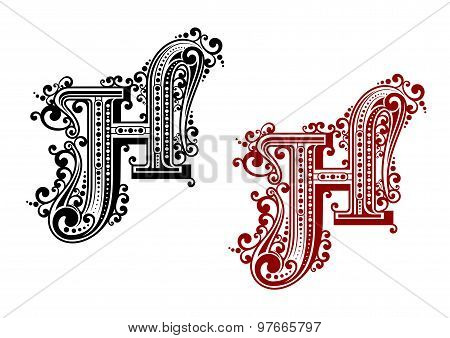 Caital letter H in floral style