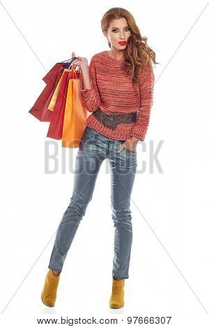 Woman and autumn shopping