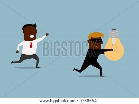 Black businessman chasing thief with idea