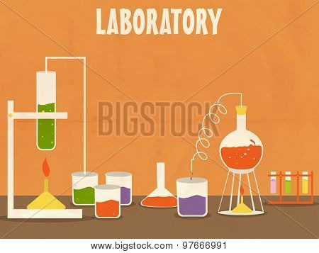 Illustration of a Science laboratoty with various beaker and flask for experiment on grungy orange background.