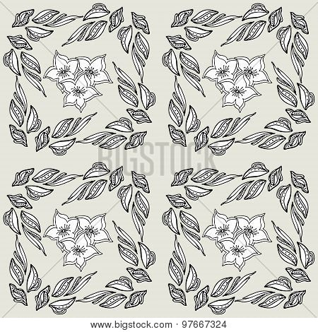Seamless Pattern . Abstract Pale Floral Background .