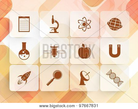 Set of shiny science signs and symbols on abstract background.