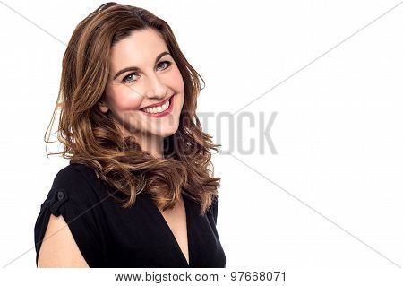 Cheerful Woman Posing To Camera